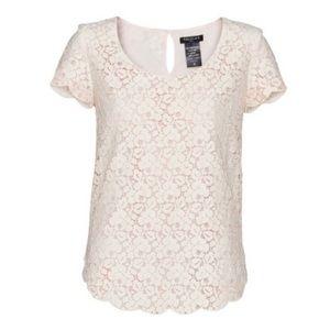 Talula Aritzia Lace Betsy Blouse Shirt Pink/ivory